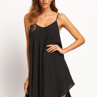 Black Asymmetrical Criss Cross Back Spaghetti Strap Sundress | MakeMeChic.COM