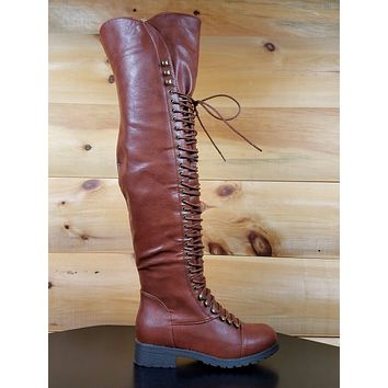 Mark & Maddux Dark Brown Corset Lace Up Over the Knee Pirate Boot Travis