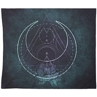 Reiki Charged Gothic Tapestry Sacred Geometry Dark Purple Wall Hanging For Meditation
