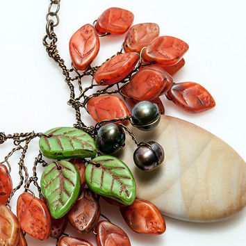 Autumn Necklace, Whimsical Orange Leaf Necklace, Orange Green Bib Necklace, Nature Jewelry, Autumn Jewelry, Gift for Her,  CPJ N553