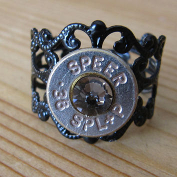 38 Special Black Bullet Ring with Greige Swarovski Crystal Accents - Small Thin Cut - Girls with Guns