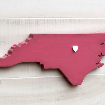 North Carolina shape sign wood cutout wall art with heart or star 24 Colors. Nursery Baby Room Wedding Guestbook Country Cottage Chic Decor