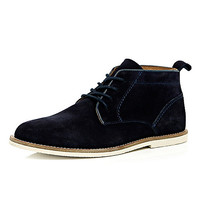River Island MensNavy blue suede lace up chukka boots