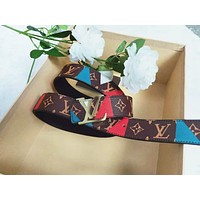 LV Louis Vuitton New fashion print leather couple belt