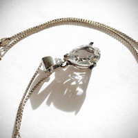 """Brilliant, Sparkling CZ Teardrop Pendant in Sterling Silver setting hangs from Sterling 18"""" Box Chain, Romantic Gift"""