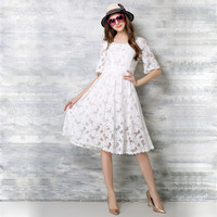 Temperament O-neck Lace Dress