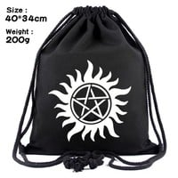 Hot Movies Supernatural Anime Drawstring Bags Canvas Organizer Pouch Men Women Casual Backpack Mass Effect Backpacks Bag 34*40cm