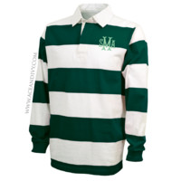 Monogrammed Rugby Shirt - Forest & White