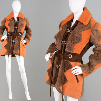 Vintage 70s Shearling Coat Hippie Boho Coat Brown & Orange Curly Sheepskin Coat 1970s Jacket Winter Coat Women Lamb Fur Coat Real Suede Trim