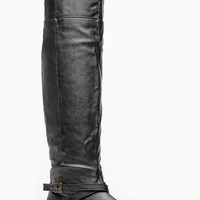 Black Faux Leather Round About Rider Boot