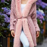 New Pink Patchwork Fur Pockets Hooded Long Sleeve Fashion Coat