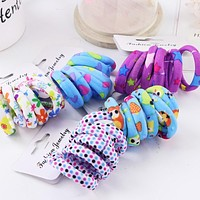 Sale 6PCS/Lot Girls Cute Color Hair Band Pink Print Dot Lovely Elastic Headband Good Quality Hair Holder Accessories Tie Gum