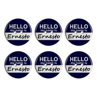 Ernesto Hello My Name Is Plastic Resin Button Set of 6