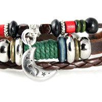 Moon and Stars Beaded Multi Strand Leather Bracelet