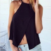 Halter Asymmetric Chiffon Top in Black or White