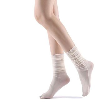 Neverminder Slouch Sheer Crew Sock | Off-White