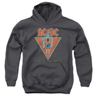ACDC/FLICK OF THE SWITCH-YOUTH PULL-OVER HOODIE-CHARCOAL