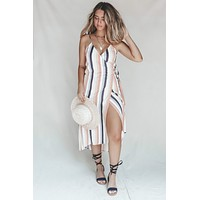 SALT WATER LUXE Billie Midi Wrap Striped Dress