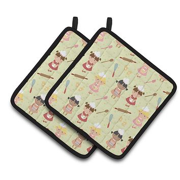 Bakers Delight on Green Pair of Pot Holders BB7314PTHD