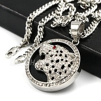 Raonhazae 316L Stainless Steel 3D Black Panther Pendant W/4mm Miami Cuban Chain