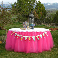 Hot Pink Tulle Table Skirt, Tutu Tableskirt for Princess Party, Birthday, Bridal Shower, Wedding, Sweet Sixteen - Custom Size, Made to Order
