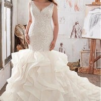 [238.99] Stunning Tulle & Satin V-Neck Plus Size Mermaid Wedding Dresses With Beaded Lace Appliques - dressilyme.com