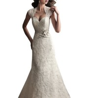 ZHUOLAN White Contoured Straps Keyhole Back Lace A-line Wedding Gown
