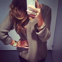 Adorbs V Neck Long Sleeve Pullover Knit Sweater - Khaki