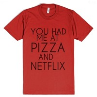 Pizza And Netflix-Unisex Red T-Shirt