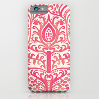 Strawberry and Cream Watercolor Tulip Damask iPhone & iPod Case by Tangerine-Tane