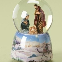 3 Musical Water Globes - Featuring Baby Jesus, Mary And Joseph