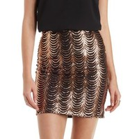 Rose Gold Scalloped Sequin Mini Skirt by Charlotte Russe