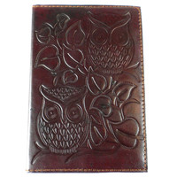 """Night Owl"" Embossed Leather Journal"