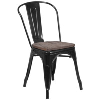 Black Metal Stackable Tolix Farmhouse Chair with Wood Seat