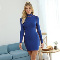 fhotwinter 19 new fashion round neck contrast color long sleeve hip skirt dress