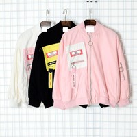 Korean Fashion Women Baseball Coat With Zipper 2017 Spring Autumn Harajuku Plus Size Female Basic Outwear Bomber Pink Jacket