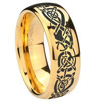 10mm Celtic Knot Dragon Dome Gold Tungsten Carbide Custom Mens Ring