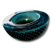 Vintage Murano Sommerso Turquoise & Emerald Green Petite Glass Bowl Dish