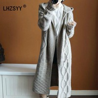 LHZSYY Autumn winter New hooded coat Cashmere Cardigan Sweater women Solid color Coat thick soft Cardigan fashion coat long