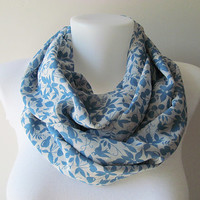 Blue White Floral Pattern Chiffon Infinity Scarf - Circle Scarf - Loop Scarf - Fall Winter Spring Summer Fashion