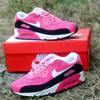 Sale Nike Air Max WMNS 90 LE GS Black Pink Running Shoes Sport Shoes 631392-600