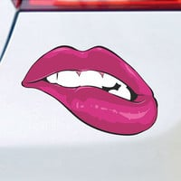 Sexy Lip Bite Sticker Vinyl Decal - Macbook Laptop car truck Apple Honda Acura Jeep BMW Hot girl Chick Babe Girl Retro Novelty