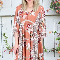 Blissful Florals V-neck Dress {Salmon Mix} EXTENDED SIZES
