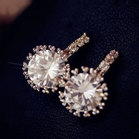 Silver 925 Simple Design Korean Diamonds Earrings [10399365140]