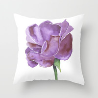 Purple Rose Watercolor Throw Pillow by Susan Windsor