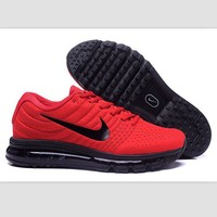 NIKE Trending Fashion Casual Sports Shoes AirMax section Red black hook soles