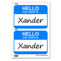 Xander Hello My Name Is - Sheet of 2 Stickers
