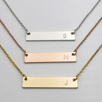 Personalized gifts initial necklace bridesmaid gifts christmas gifts hand stamped Letter Necklace anniversary gifts single letter