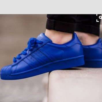 """""""Adidas"""" Fashion Shell-toe Flats Sneakers Sport Shoes Pure color Dark Blue"""
