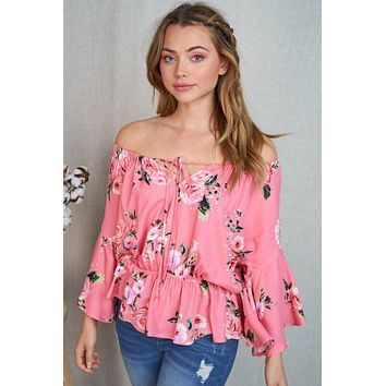Celebrate The Day Coral Floral Off The Shoulder Top